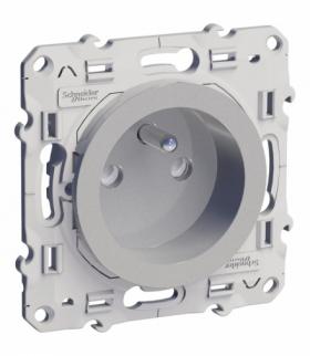 Odace Gniazdo pojedyncze 2P+PE z przesłonami aluminium Schneider S53D059