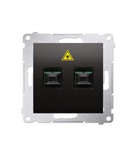 Gniazdo światłowodowe / optyczne podwójne antracyt, metalizowany DGS2.01/48