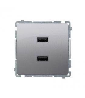 Ładowarka USB podwójna inox, metalizowany BMC2USB.01/21
