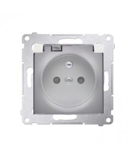 Gniazdo wtyczkowe pojedyncze IP44 z uszczelką klapka transparentna Premium, zaciski śrubowe, srebrny mat, metalizowany DGZ1BZ.01