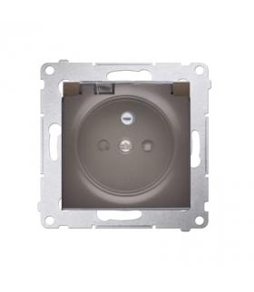 Gniazdo wtyczkowe pojedyncze IP44 z uszczelką klapka transparentna Premium, zaciski śrubowe, brąz mat, metalizowany DGZ1BZ.01/46