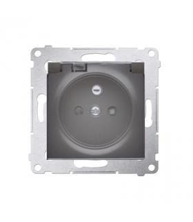 Gniazdo wtyczkowe pojedyncze IP44 z uszczelką klapka transparentna Premium, zaciski śrubowe, antracyt, metalizowany DGZ1BZ.01/48