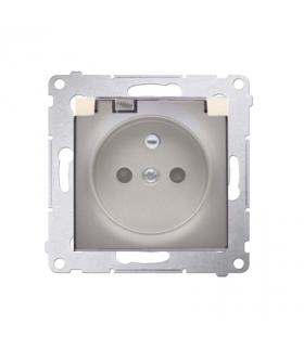 Gniazdo wtyczkowe pojedyncze IP44 bez uszczelki klapka transparentna Nature i Premium, zaciski śrubowe, złoty mat, metalizowany