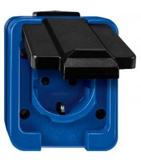 Merten Gniazdo 2P+PE Schuko IP55 niebiesko-czarne
