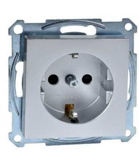 Merten Gniazdo schuko z przesłonami, aluminium SYS. M