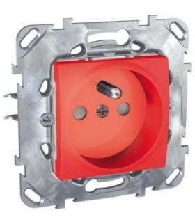 Unica Gniazdo pojedyncze 2P+PE z przesłonami czerwony Schneider MGU50.039.03Z