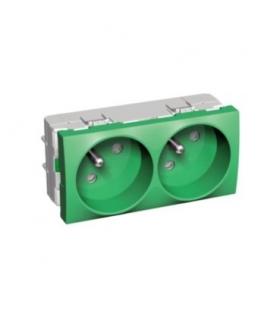 Altira 2 SO 2P+E z przesłonami i bolcem uz. zielony Schneider ALB4522206