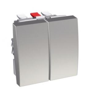 Schneider Electric Altira - podwójny przycisk pojedynczy - 10 A - aluminium ALB46063