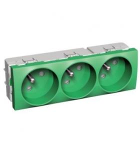 Altira 3 SO 2P+E z przesłonami i bolcem uz. zielona Schneider ALB4523206