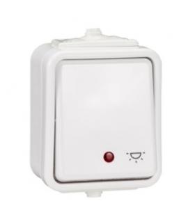"""Cedar Przycisk """"światło"""" z podświetleniem IP44 biały Schneider WNT102CS01"""
