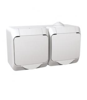 Cedar Plus Gniazdo podwójne 2P+PE z białą klapką IP44 biały Schneider WDE000522