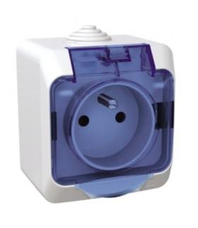 Cedar Plus Gniazdo pojedyncze 2P+PE z niebieską klapką IP44 biały Schneider WDE000542