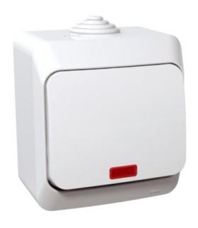Cedar Plus Łącznik 1-biegunowy z podświetleniem IP44 biały Schneider WDE000514