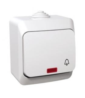 """Cedar Plus Przycisk """"dzwonek"""" z podświetleniem IP44 biały Schneider WDE000515"""