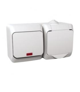 Cedar Plus Zestaw łącznik + gniazdo z podświetleniem IP44 biały Schneider WDE000581