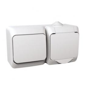 Cedar Plus Zestaw łącznik + gniazdo IP44 biały Schneider WDE000580