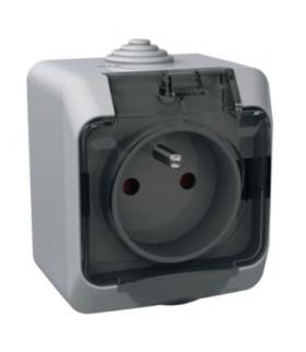 Cedar Plus Gniazdo pojedyncze 2P+PE z przydymioną klapką IP44 szary Schneider WDE000642