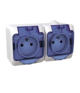 Cedar Plus Gniazdo podwójne 2P+PE z niebieską klapką IP44 biały Schneider WDE000524
