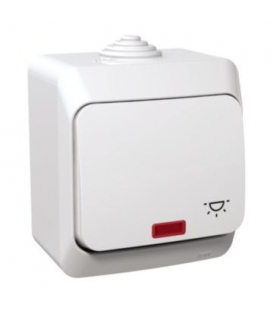 """Cedar Plus Przycisk """"światło"""" z podświetleniem IP44 biały Schneider WDE000516"""