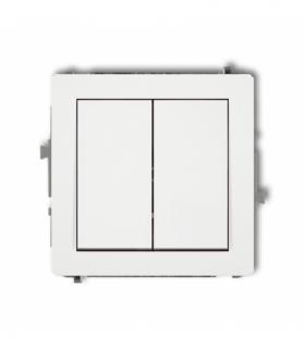 DECO Mechanizm łącznika jednobiegunowego ze schodowym (dwa klawisze bez piktogramów wspólne zasilanie) Biały Karlik DWP-10.11