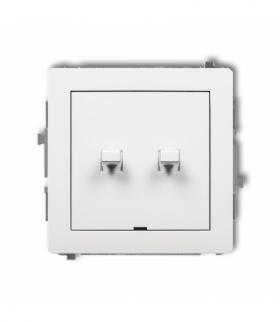 DECO Mechanizm łącznika podwójnego schodowego w stylu amerykańskim (dwa klawisze bez piktogramów) Biały Karlik DWPUS-33.1