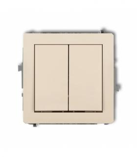 DECO Mechanizm łącznika jednobiegunowego ze schodowym (dwa klawisze bez piktogramów wspólne zasilanie) Beżowy Karlik 1DWP-10.11