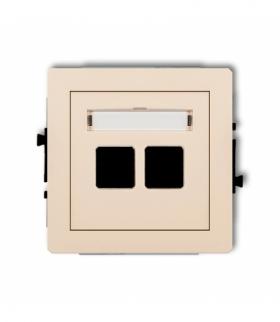 DECO Mechanizm gniazda multimedialnego podwójnego bez modułu (standard Keystone) Beżowy Karlik 1DGM-2P