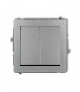 DECO Mechanizm łącznika jednobiegunowego ze schodowym (dwa klawisze bez piktogramów wspólne zasilanie) Srebrny metalik Karlik 7D