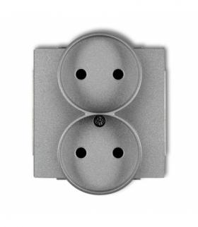DECO Mechanizm gniazda podwojnego do ramki DECO Soft bez uziemienia 2x2P (przesłony torów prądowych) Srebrny metalik Karlik 7DGP