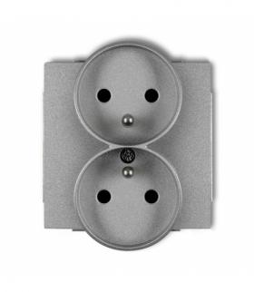 DECO Mechanizm gniazda podwojnego do ramki DECO Soft z uziemieniem 2x(2P+Z) (przesłony torów prądowych) Srebrny metalik Karlik 7