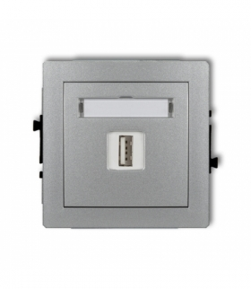 DECO Mechanizm ładowarki USB pojedynczej 5V 2A Srebrny metalik Karlik 7DCUSB-3