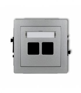 DECO Mechanizm gniazda multimedialnego podwójnego bez modułu (standard Keystone) Srebrny metalik Karlik 7DGM-2P