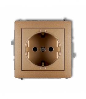 DECO Mechanizm gniazda pojedynczego z uziemieniem SCHUKO 2P+Z (przesłony torów prądowych) Złoty metalik Karlik 8DGP-1sp