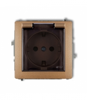 DECO Mechanizm gniazda bryzgoszczelnego z uziemieniem SCHUKO 2P+Z (klapka dymna przesłony torów prądowych) Złoty metalik Karlik
