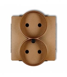 DECO Mechanizm gniazda podwojnego do ramki DECO Soft bez uziemienia 2x2P (przesłony torów prądowych) Złoty metalik Karlik 8DGPRS