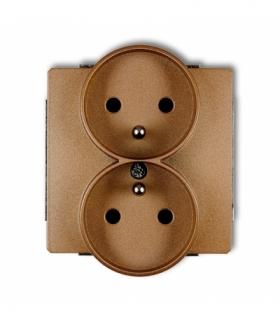 DECO Mechanizm gniazda podwojnego do ramki DECO Soft z uziemieniem 2x(2P+Z) (przesłony torów prądowych) Złoty metalik Karlik 8DG
