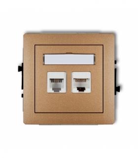 DECO Mechanizm gniazda telefonicznego pojedynczego 1xRJ11 + komputerowego pojedynczego 1xRJ45 kat. 5e 8-stykowy beznarzędziowe Z
