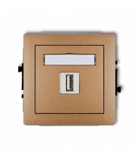 DECO Mechamizm gniazda pojedynczego USB-AA 3.0 Złoty metalik Karlik 8DGUSB-5
