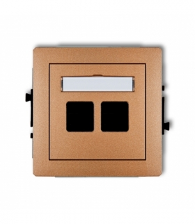 DECO Mechanizm gniazda multimedialnego podwójnego bez modułu (standard Keystone) Złoty metalik Karlik 8DGM-2P