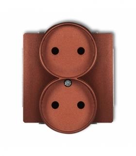 DECO Mechanizm gniazda podwojnego do ramki DECO Soft bez uziemienia 2x2P (przesłony torów prądowych) Brązowy metalik Karlik 9DGP
