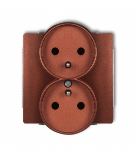 DECO Mechanizm gniazda podwojnego do ramki DECO Soft z uziemieniem 2x(2P+Z) (przesłony torów prądowych) Brązowy metalik Karlik 9