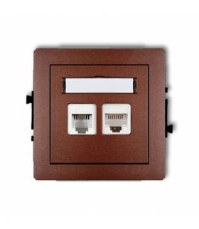 DECO Mechanizm gniazda telefonicznego pojedynczego 1xRJ11 + komputerowego pojedynczego 1xRJ45 kat. 5e 8-stykowy beznarzędziowe B