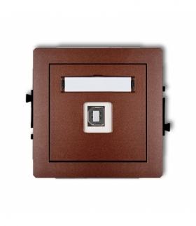 DECO Mechanizm gniazda pojedynczego USB-AB 2.0 Brązowy metalik Karlik 9DGUSB-3