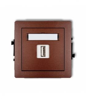 DECO Mechamizm gniazda pojedynczego USB-AA 3.0 Brązowy metalik Karlik 9DGUSB-5
