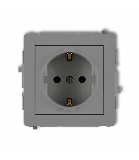 DECO Mechanizm gniazda pojedynczego z uziemieniem SCHUKO 2P+Z (przesłony torów prądowych) Szary mat Karlik 27DGP-1sp