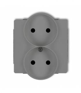 DECO Mechanizm gniazda podwojnego do ramki DECO Soft bez uziemienia 2x2P (przesłony torów prądowych) Szary mat Karlik 27DGPRSO-2