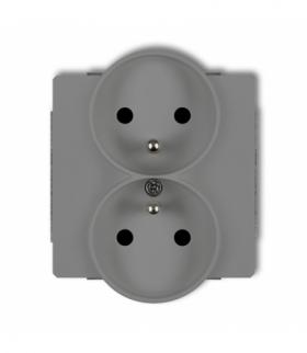 DECO Mechanizm gniazda podwojnego do ramki DECO Soft z uziemieniem 2x(2P+Z) (przesłony torów prądowych) Szary mat Karlik 27DGPRS