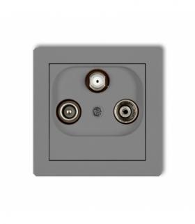 DECO Mechanizm gniazda abonenckiego RTV-SAT końcowego multimedialnego (Internet) Szary mat Karlik 27DGM