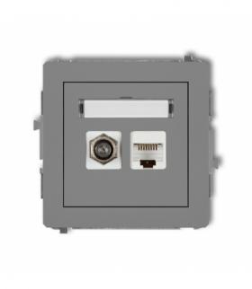 DECO Mechanizm gniazda antenowego poj. typu F (SAT) + gniazda komp. poj. 1xRJ45 kat. 5e 8-stykowy Szary mat Karlik 27DGFK
