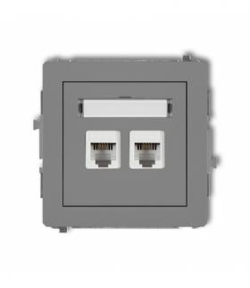 DECO Mechanizm gniazda telefonicznego podwójnego 2xRJ11 4-stykowy beznarzędziowe Szary mat Karlik 27DGT-2